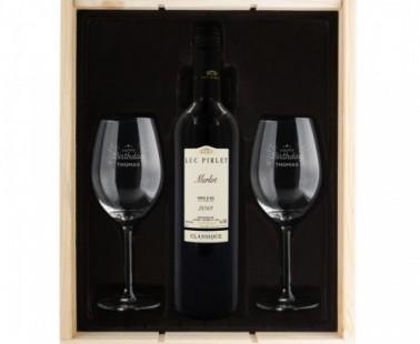 Wijnpakket met gegraveerde glazen